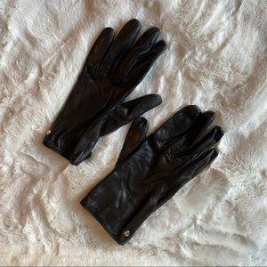 Kate Spade Black Leather Gloves - XL